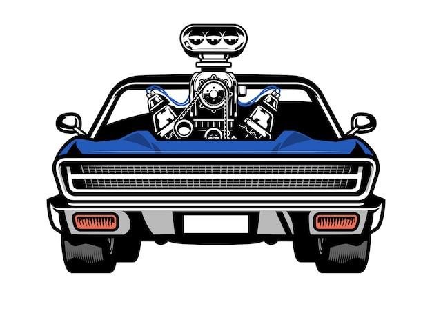 Muscle car americana con un grande motore sul cofano