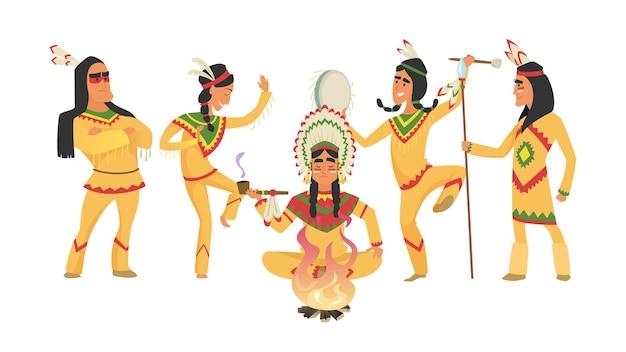 Indiani nativi americani. sciamano e fuoco, persone danzanti rituali.