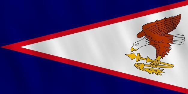Bandiera delle samoa americane con effetto ondulante, proporzione ufficiale.