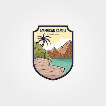 Disegno dell'illustrazione di viaggio del simbolo della toppa dell'autoadesivo del logo del parco nazionale delle samoa americane
