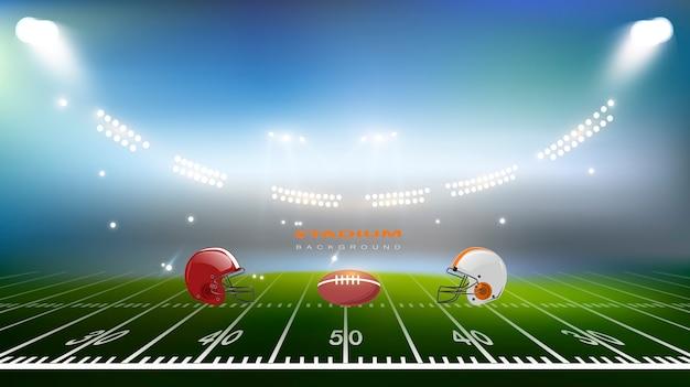Stadio di calcio americano, campo di arena di football americano con luci luminose dello stadio.