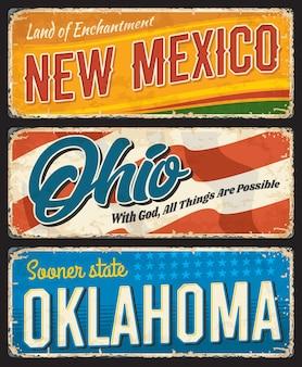 Bandiere vintage di stati americani, new mexico, ohio e oklahoma. indicazioni per la destinazione del viaggio. schede retrò grunge, cartoline, insegne antiche con tipografia, set di targhe di monumenti turistici