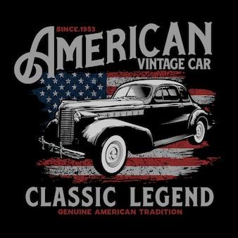 Design tipografico di auto d'epoca americana