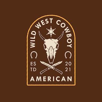 Design del logo del cowboy wild west americano