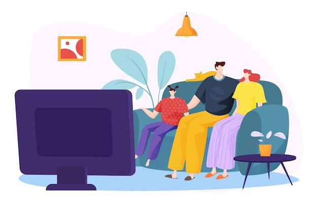 Famiglia amichevole che guarda la televisione trasmessa