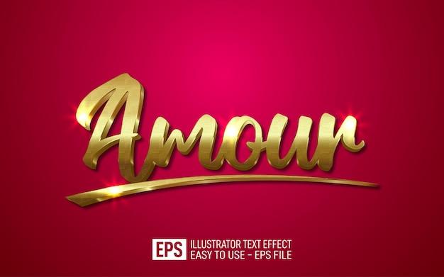 Modello di effetto stile modificabile con testo 3d oro lusso amour