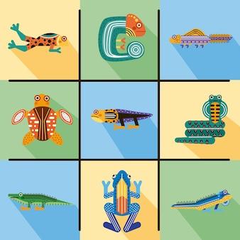 Set di animali di anfibi
