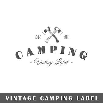 Etichetta amping isolata su sfondo bianco. elemento. modello per logo, segnaletica, branding.
