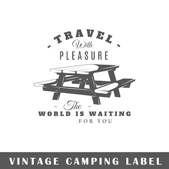 Etichetta amping su sfondo bianco. elemento. modello per logo, segnaletica, branding. illustrazione