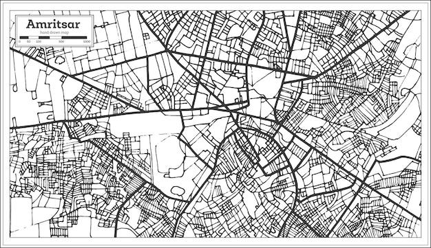 Mappa della città di amritsar india in stile retrò. mappa di contorno. illustrazione di vettore.