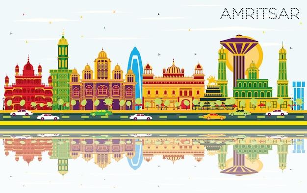 Orizzonte della città di amritsar india con edifici di colore, cielo blu e riflessi. illustrazione di vettore. viaggi d'affari e concetto di turismo con architettura storica. paesaggio urbano di amritsar con punti di riferimento.