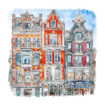 Illustrazione disegnata a mano di schizzo dell'acquerello di amsterdam centrum paesi bassi
