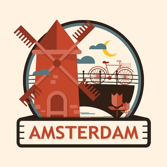 Distintivo della città di amsterdam, paesi bassi, olanda