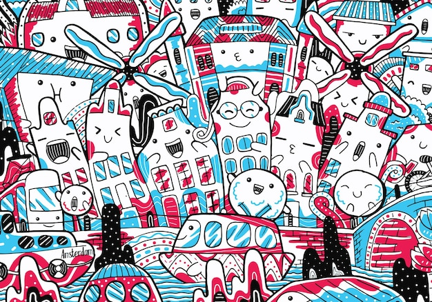 Doodle di paesaggio urbano di amsterdam in stile design piatto