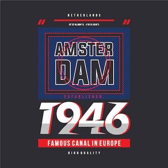 Design a t-shirt grigia di amsterdam