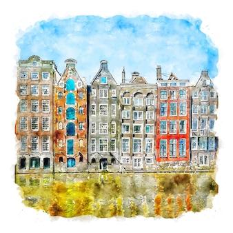 Illustrazione disegnata a mano di schizzo ad acquerello di amsterdam paesi bassi