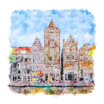 Illustrazione disegnata a mano di schizzo dell'acquerello di amsterdam paesi bassi
