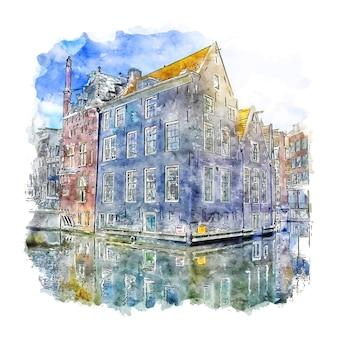 Schizzo dell'acquerello di amsterdam paesi bassi disegnato a mano