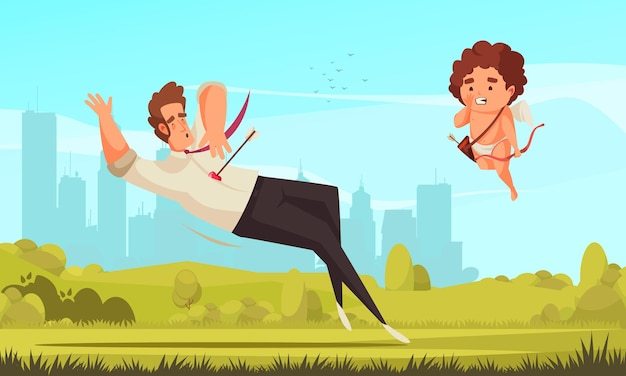 Composizione di san valentino cupido di amur con paesaggio urbano di paesaggi all'aperto e personaggio di amoretto volante con uomo sparato