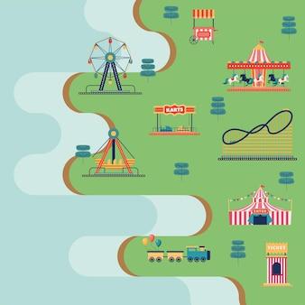 Icone sceniche del parco di divertimenti con vista aerea