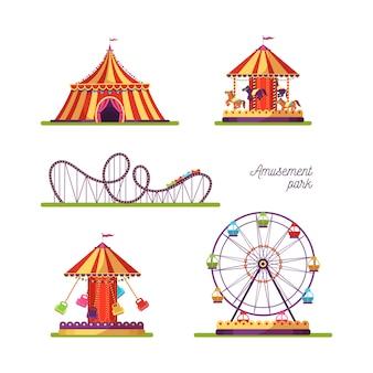 Le illustrazioni delle attrazioni del parco di divertimenti hanno messo isolato su bianco