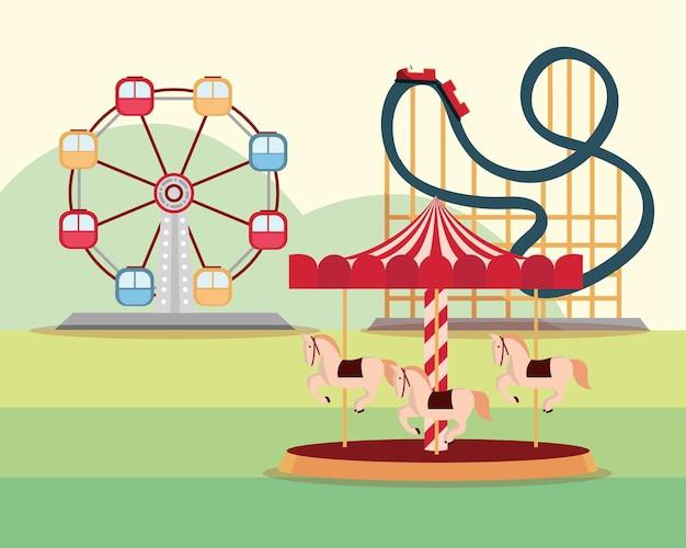 Illustrazione di montagne russe e carosello della ruota panoramica di carnevale del parco di divertimenti