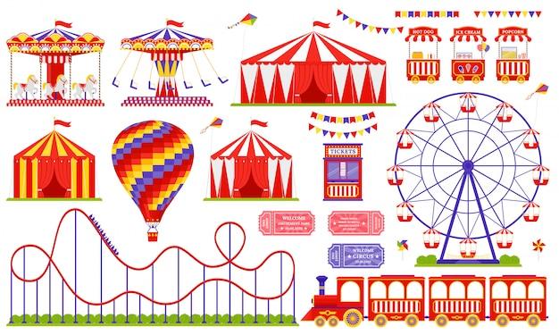 Parco divertimenti, circo, tema fiera di carnevale. set con ruota panoramica, tenda, giostra, montagne russe, mongolfiera, treno.