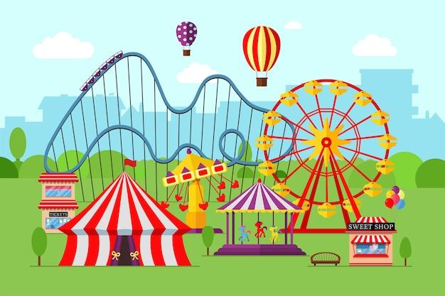 Parco divertimenti circo giostra montagne russe e attrazioni luna park e paesaggio a tema carnevale