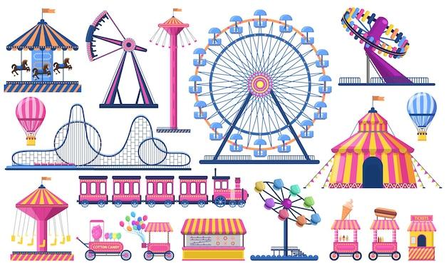 Parco divertimenti. tendone del festival del circo, montagne russe, treno, ruota panoramica e giostra di carnevale.