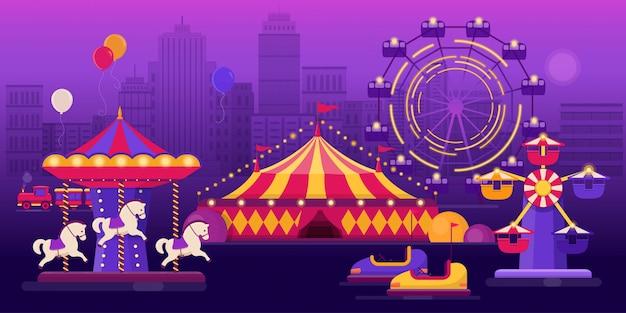Parco divertimenti su uno sfondo di paesaggio della città