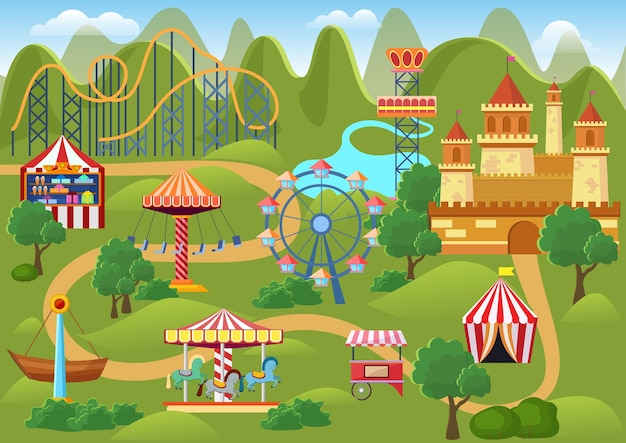Mappa del paesaggio di concetto del parco di divertimenti con elementi piani della fiera, castello, illustrazione del fumetto delle montagne