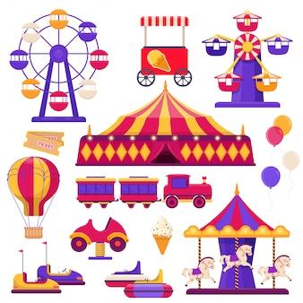 Elementi del parco di divertimenti. ruota panoramica, tendone da circo, giostre e così via. illustrazione piatta