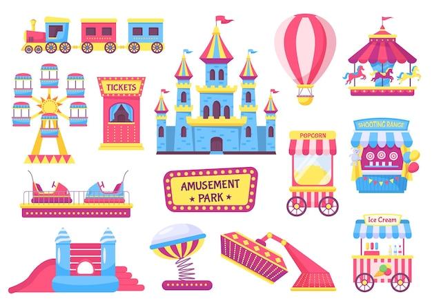 Elementi del parco divertimenti, festival o giochi da luna park. montagne russe, treno, giostra, tendone da circo, set di vettori per le attrazioni della fiera