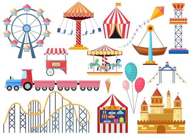 Elementi delle icone di intrattenimento del parco di divertimenti isolati. coloratissimo cartoon piatto ruota panoramica ferris, giostra, circo e castello isolato