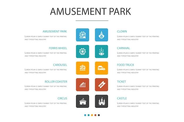 Parco divertimenti infografica 10 opzione concept.ruota panoramica, giostra, montagne russe, icone semplici di carnevale
