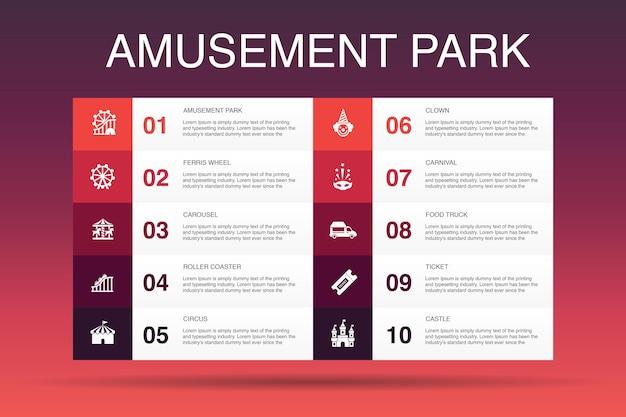 Modello di opzione di infographic 10 del parco di divertimenti. ruota panoramica, giostra, montagne russe, icone semplici di carnevale