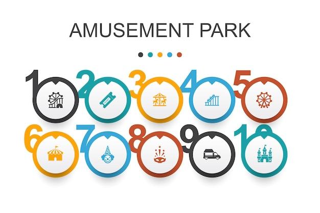 Modello di progettazione infografica del parco divertimenti. ruota panoramica, giostra, montagne russe, icone semplici di carnevale