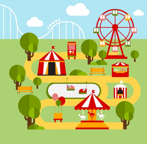 Parco di divertimenti elementi infografici
