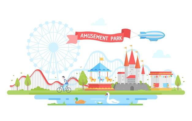 Parco divertimenti - illustrazione vettoriale di stile moderno design piatto. vista incantevole con giostre, giostra, castello, case, ciclista, laghetto con cigno e papera. concetto di intrattenimento