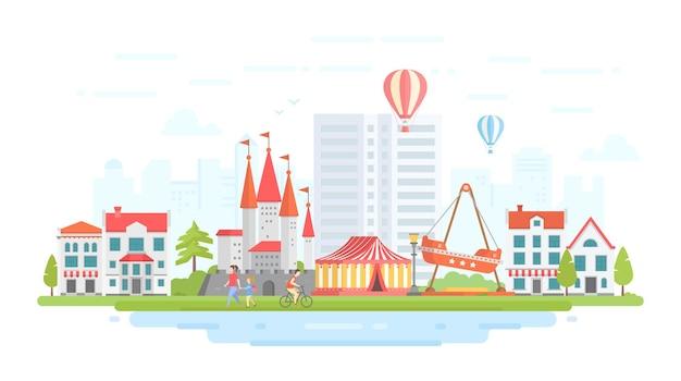 Parco divertimenti - illustrazione vettoriale di stile moderno design piatto su sfondo urbano. incantevole paesaggio urbano con attrazioni, circo, castello, case, gente che cammina. concetto di intrattenimento