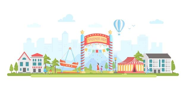 Parco divertimenti - illustrazione vettoriale di stile moderno design piatto su sfondo urbano. incantevole paesaggio urbano con attrazioni, circo, case, gente che cammina. sagoma di mongolfiera. concetto di intrattenimento