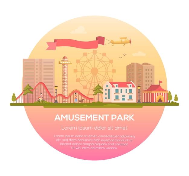 Parco divertimenti - moderna illustrazione vettoriale in una cornice rotonda con posto per il testo su sfondo urbano. incantevole paesaggio urbano con attrazioni, padiglione del circo, case, persone, sagoma di una grande ruota, aereo