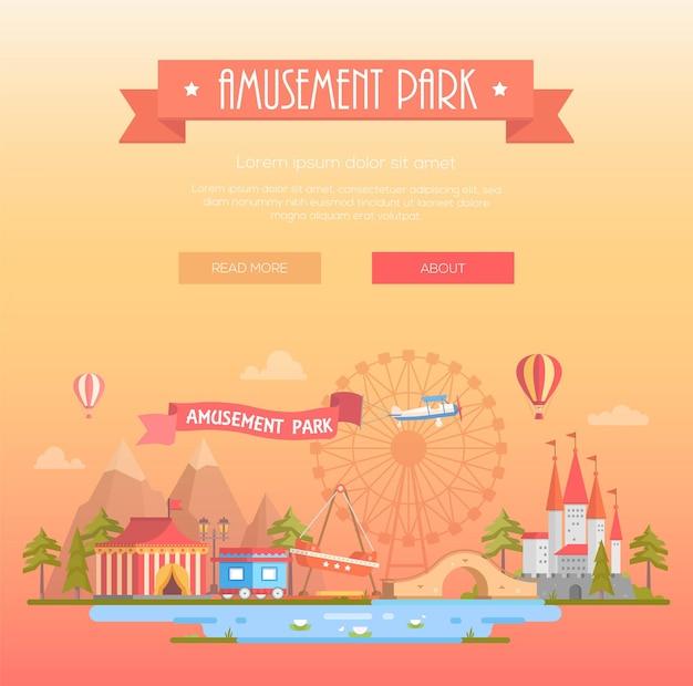 Parco divertimenti - moderna illustrazione vettoriale su sfondo giallo con posto per il testo. titolo su nastro arancione. paesaggio urbano con attrazioni, padiglione del circo, castello, montagne. concetto di intrattenimento