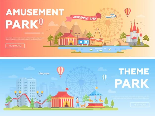 Parco divertimenti - set di illustrazioni vettoriali piatte moderne con posto per il testo. due varianti di luna park. incantevole paesaggio urbano con attrazioni, casa, grande ruota, stagno, montagne russe. colori arancioni e blu