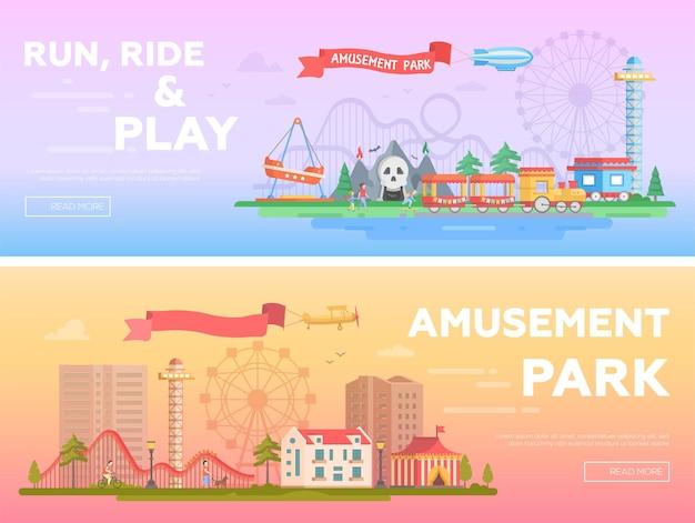 Parco divertimenti - set di illustrazioni vettoriali piatte moderne con posto per il testo. due varianti di luna park. incantevole paesaggio urbano con attrazioni, case, spettacolo dell'orrore, grande ruota. colori arancioni e viola