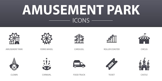 Set di icone di concetto semplice del parco di divertimenti. contiene icone come ruota panoramica, carosello, montagne russe, carnevale e altro, può essere utilizzato per web, logo, ui/ux