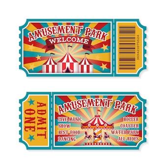 Biglietto per il parco divertimenti. biglietti d'ingresso per le attrazioni del parco per famiglie, ricevuta dell'evento vintage del festival divertente.
