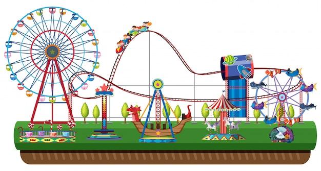 Parco di divertimenti su sfondo bianco
