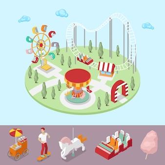 Parco divertimenti con giostra, ruota panoramica e montagne russe. illustrazione piana 3d isometrica di vettore