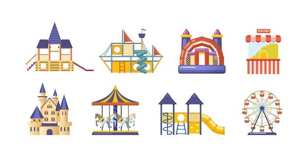 Parco divertimenti con set di giostre. attrezzature per l'intrattenimento infantile circo, luna park e carnevale. festival fantasy con castello da favola, scivoli, carretto pop corn e cartone animato vettoriale con ruota panoramica